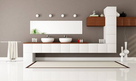 white and brown contemporary bathroom with two sink - rendering photo