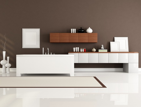 brown and white bathroom with minimalist bathtub-rendering photo