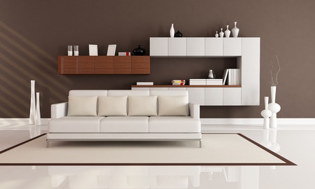 brown and white elegant modern living room - rendering photo