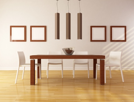 dining table and chairs: elegant dining room with wooden table and white chair - rendering