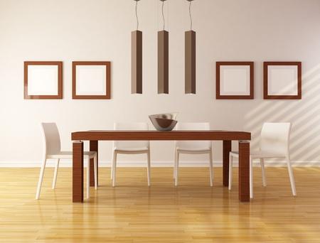 tavolo da pranzo: elegante sala da pranzo con tavolo in legno e una sedia bianca - rendering Archivio Fotografico