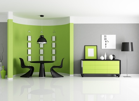 dining room: modern green dining room with circular wall - rendering