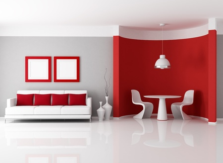 contemporary living room with dining room corner - rendering Stock Photo - 9276041