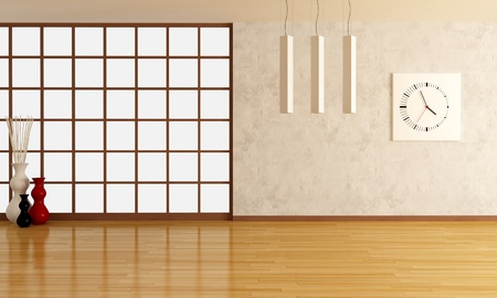 empty room with stucco wall and parquet-rendering Stock Photo - 9276039