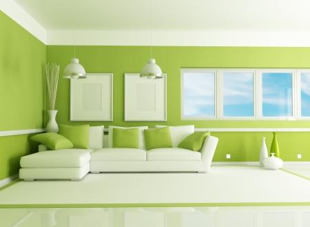 sala de estar: contempor�neo Sal�n verde con sof� �ngulo - representaci�n