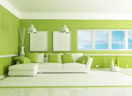 living room sofa: contemporary green living room with angle sofa - rendering