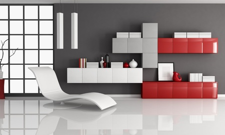 modern living: modern living room with fashion armchair and minimalist  bookcase - rendering