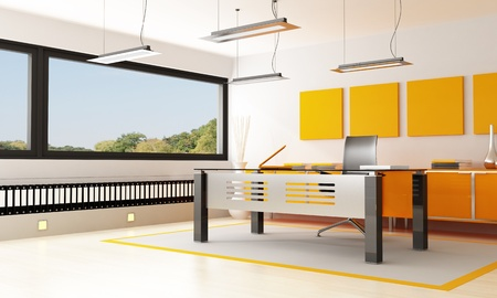 orange and black orange office - rendering- the image on background is a my photo photo