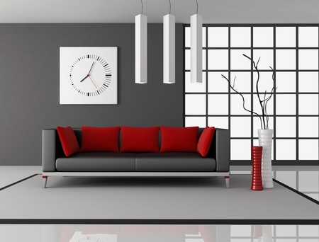 living room design: black and red living room with leather couch with pillow - rendering Stock Photo