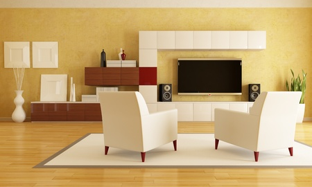 elegant living room with flat tv - rendering photo
