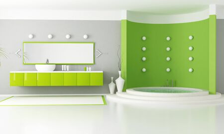 green modern bathroom with circular luxury bathtub - rendering photo