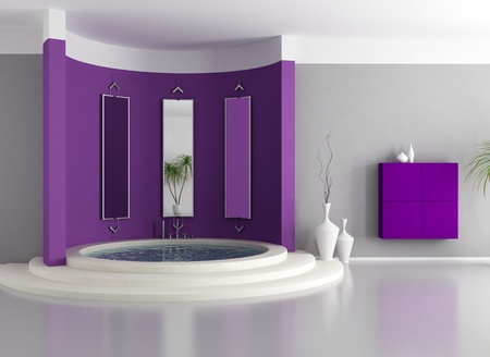 purple  modern bathroom with circular luxury bathtub - rendering photo
