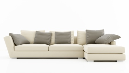 modern sofa: Beige and gray sofa isolated on white - rendering