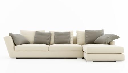 divano: Divano beige e grigio isolata on white - rendering Archivio Fotografico