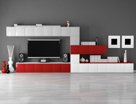 minimalist empty living room with cabinet  and lcd tv  photo