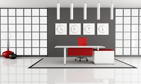minimalist office space with empty white desk - rendering photo