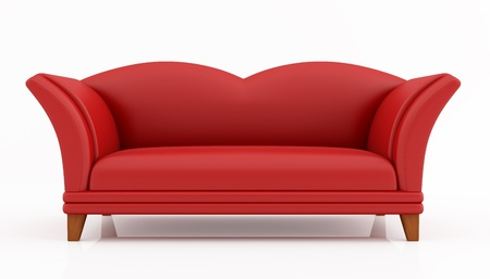 red fashion couch isolated on white - rendering photo