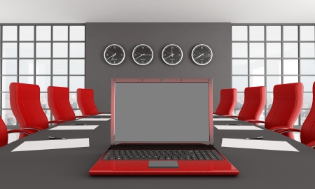 red and black conference room with  notebook  - rendering - the image on background is a my photo new york 2008 photo