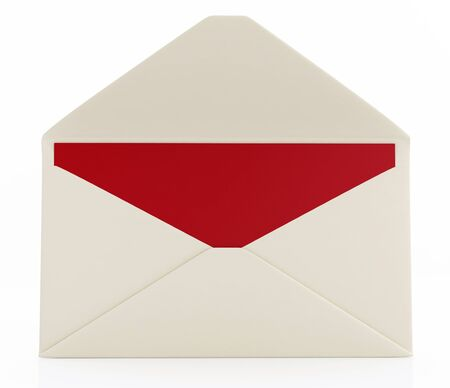 letter envelope: Open envelope with red message card isolated on white - rendering