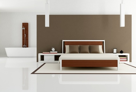 bedroom design: contemporary bedroom with bathtub - rendering Stock Photo