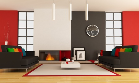 modern lounge with two couch and minimalist fireplace - rendering - the picture on wall is a my photo ,London 2008 Stock Photo - 9390498