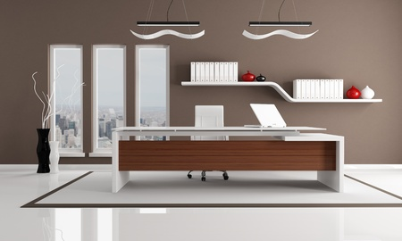 minimalist brown and white city office - the image on background is a my photo new york 2008 photo