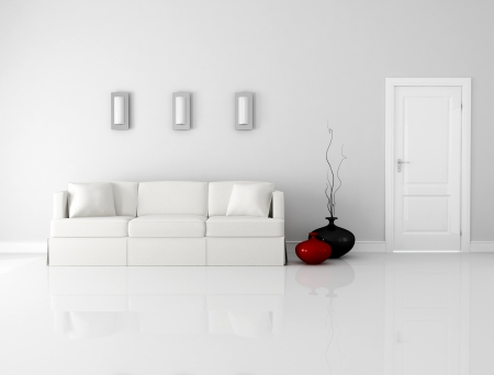 living room minimalist: minimalist white interior with elegant sofa and door - rendering