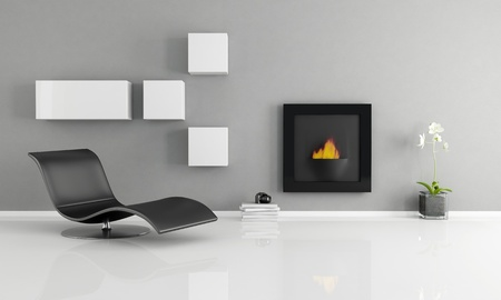 minimalist interior with essential fireplace - rendering photo