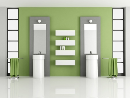 contemporary green bathroom with two fashion sink - rendering photo