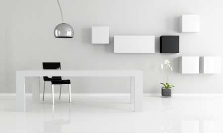 black and white minimalist dining room photo
