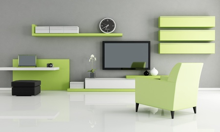lounge: modern living room with work space and tv - rendering Stock Photo