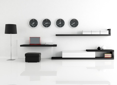 work space in a minimalist living room - rendering Stock Photo - 9455661