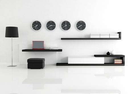 work space in a minimalist living room - rendering Stock fotó