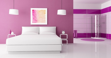 bedrooms: purple bedroom with white double bed and  cabin shower-rendering-the art picture on wall is a my composition Stock Photo