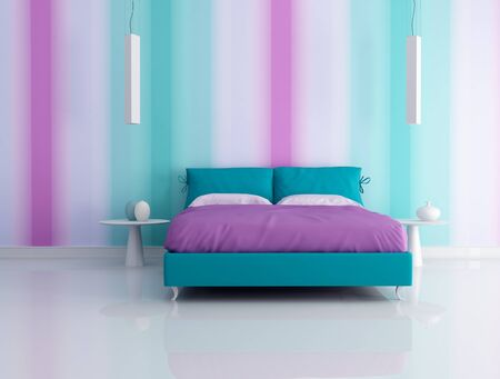bedroom interior: modern bedroom with multicolor  wallpaper  - rendering