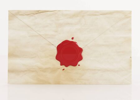old envelope sealed with  red wax seal - rendering photo