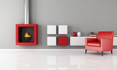 minimalist living room with fashion fireplace - rendering Stock Photo - 9502847