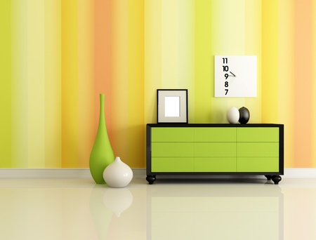 dresser: modern interior with  green dresser and multicolor  wallpaper  - rendering