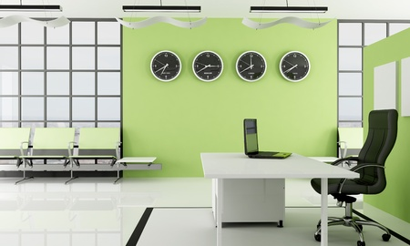 office interior design: 3D modern green  office with waiting space -rendering - the image on background is a my photo new york 2008