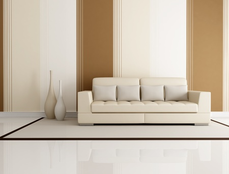 modern sofa: beige and brown living room with beige couch and wallpaper - rendering