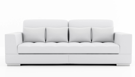 modern sofa: elegant couch isolated on white - rendering