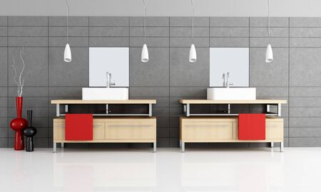 two modern sink in a minimalist bathroom with black  tiles - rendering photo