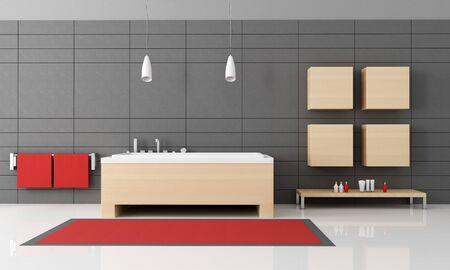 contemporary bathroom with wooden  bathtub-rendering photo