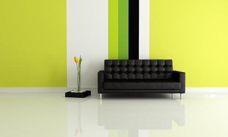 leren bank: modern interieur met zwart lederen sofa en multicolor wallpaper - rendering