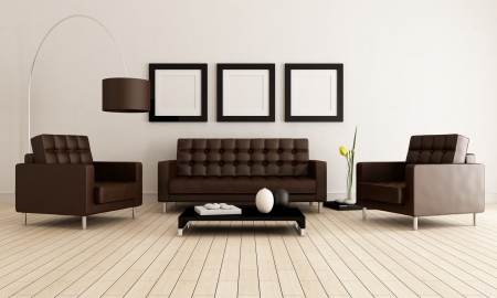 brown leather sofa: sofa and armchairs in a minimalist lounge - rendering