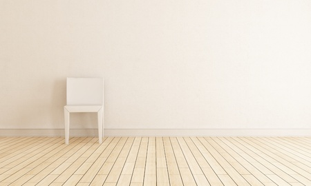 bright interior with chair against wall - rendering Stock Photo