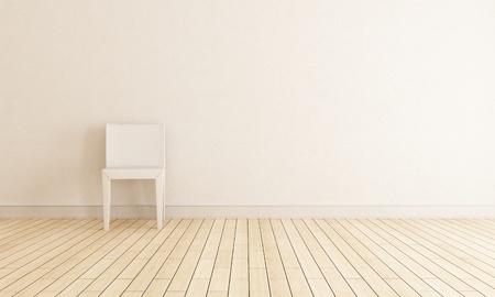 helles Interieur mit Stuhl gegen die Wand - Rendering Standard-Bild