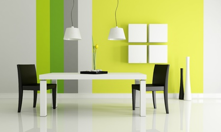 dining table and chairs: minimalist bright dining room - rendering