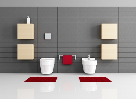 minimalist bathroom with toilet and bidet - rendering photo