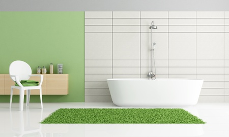 minimalist bathroom with bathtub and chair - rendering photo